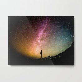 Rainbow Milky Way Galaxy Night Sky Photography Metal Print