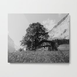 Cabin in the mountain grass, Lauterbrunnen, Switzerland | Wooden cottage landscape photography | Black and white Metal Print