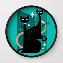 Fashionable Felines Atomic Age Black Kitschy Cats Wall Clock