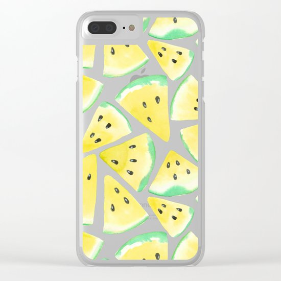 Yellow watermelon slices pattern Clear iPhone Case