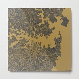 Sydney map - Ocher Metal Print