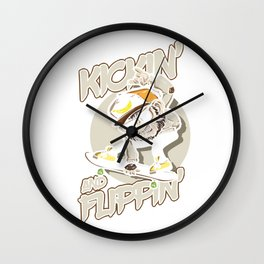 Kickin And Flippin Skateboarding Skateboarder Action Sports Riding Tricks Flips Gift Wall Clock