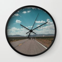 cows on the open road Wall Clock