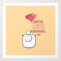 palo alto Art Prints featuring Juntos llegaremos tan alto by MostrOpi