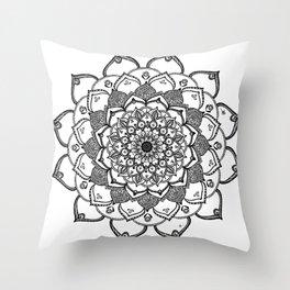 Mandala Dentelle black By Sonia H. Throw Pillow