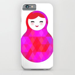 Russian doll matryoshka screw up one's eyes with bright rhombus on white background, pink colors iPhone Case