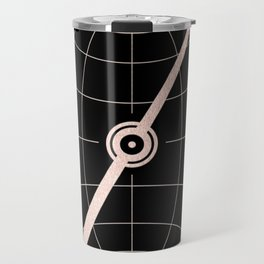 Rose Gold Compass on Black Travel Mug
