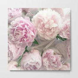 Shabby Chic Pastel Pink Peonies Wall Art - Peonies Home Decor Metal Print