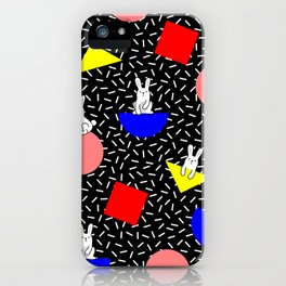 geometric bunny - 80s 90s inspired pattern - memphis milano iPhone Case