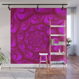 Fractal Web Red on Pink Wall Mural