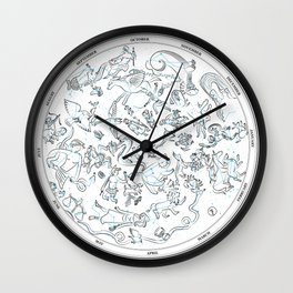 Constellations of the Northern sky - ligth blue Wall Clock