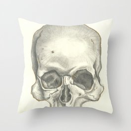 Vintage Skull - Black and White Drawing Throw Pillow