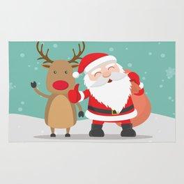 Noel and Deer Enjoying the Christmas Rug