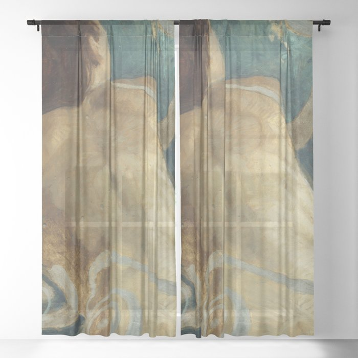 Backlite Nude Figure Oil painting Turquoise of Woman Sheer Curtain