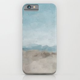 Ocean Horizon Sandy Sunny Beach Day Clear Blue Skies Abstract Nature Painting Art Print Wall Decor  iPhone Case