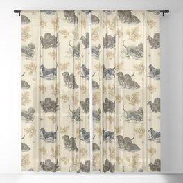 Dachshunds pattern Sheer Curtain