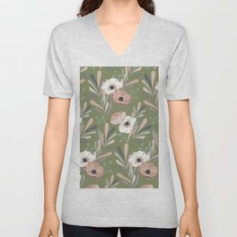 Anemones & Olives - Green Unisex V-Neck