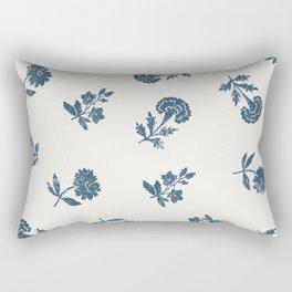 Lino print blue floral Rectangular Pillow