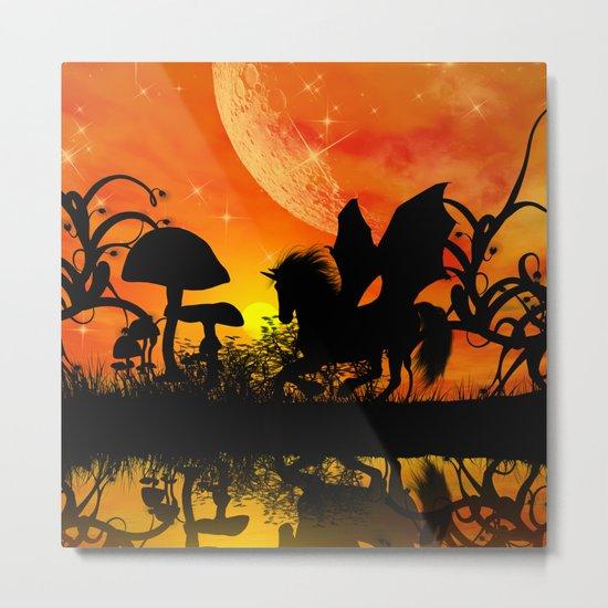 Beautiful unicorn silhouette Metal Print