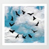 novelty Art Prints featuring Time Flies  Novelty Bird Clock by KittyBitty