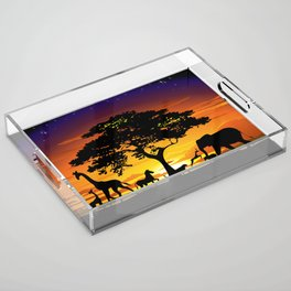 Wild Animals on African Savanna Sunset Acrylic Tray