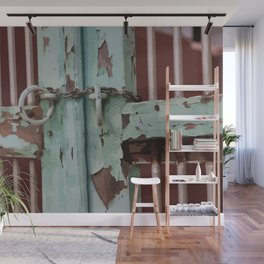 Closed Door Illustration with Chain Wall Mural