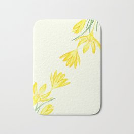 yellow botanical crocus watercolor Bath Mat