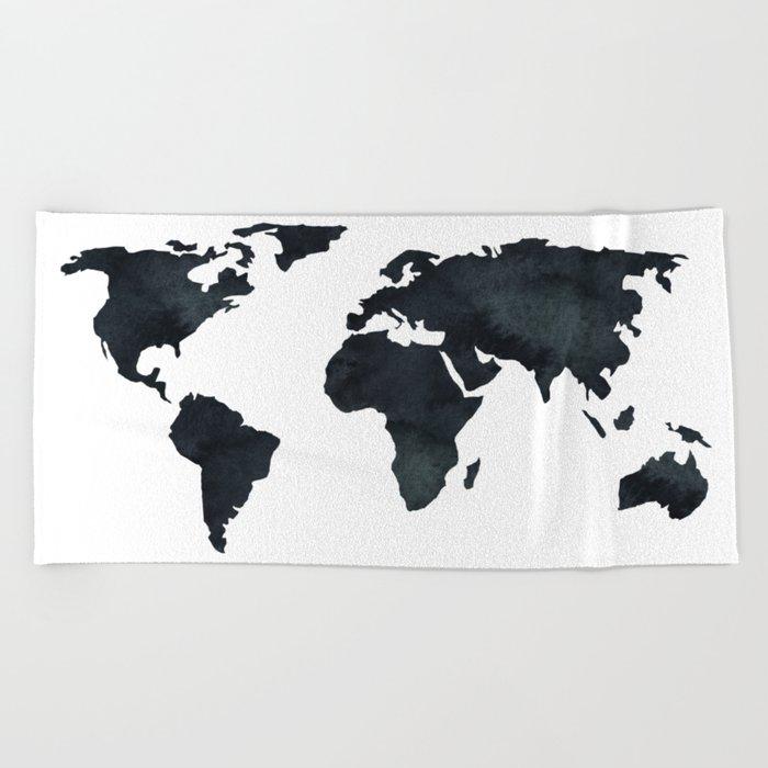 World Map Black Watercolor Ink Beach Towel
