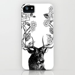 The Stag and Roses | Black and White iPhone Case