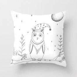Snowy Christmas Owl Illustration Throw Pillow