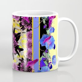 Blue  Patterns Morning Glories &  Yellow ART Coffee Mug