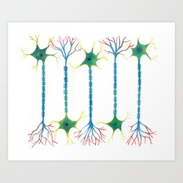 Neuron 5 in White Art Print