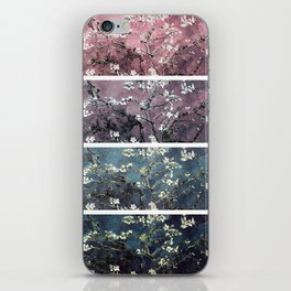 Vincent Van Gogh Almond Blossoms Panel Dark Pink Eggplant Teal iPhone Skin