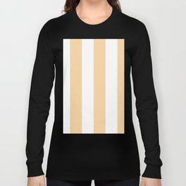 Wide Vertical Stripes - White and Sunset Orange Long Sleeve T-shirt