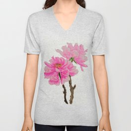 two pink peonies watercolor Unisex V-Neck