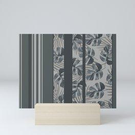 Silver Monstera Stripes Pattern Mini Art Print