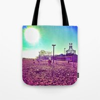 santa monica Tote Bags featuring Santa Monica by SefoG