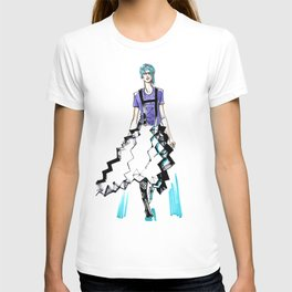 fashion #58: Girl with blue hair and a skirt-origami T-shirt