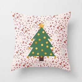 Christmas tree and terrazzo Throw Pillow
