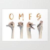 OMFG Ostriches Art Print