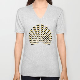 Yellow Black Chevron Unisex V-Neck