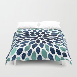 Flower Bloom, Aqua and Navy Duvet Cover