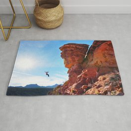 Rock Climber Swinging at Red Rock Canyon Rug