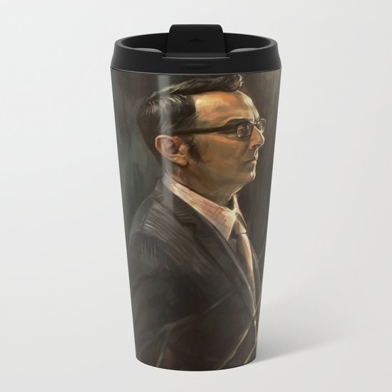 The Abyss Gazes Back Metal Travel Mug