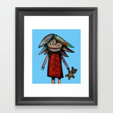 Girl vith teddy bear Framed Art Print
