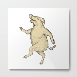 Jolly Pig Dancing Drawing Retro Color Metal Print
