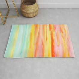 Summer Sunset Abstract Painting Stripes Pattern Modern - Be Yourself And Fall In Love Rug