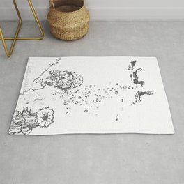 Two Tailed Duck and Jellyfish White Rug