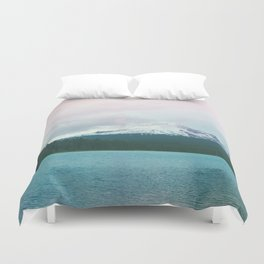 Mountain Lake - Nature Photography - Turquoise Teal Pink Duvet Cover