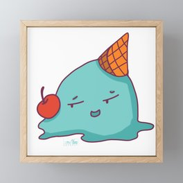 Melted Ice Cream with Red Cherry Framed Mini Art Print